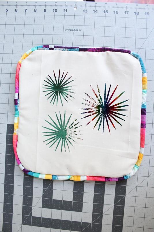 Rainbow Fireworks Foil Pillow | www.sugarbeecrafts.com