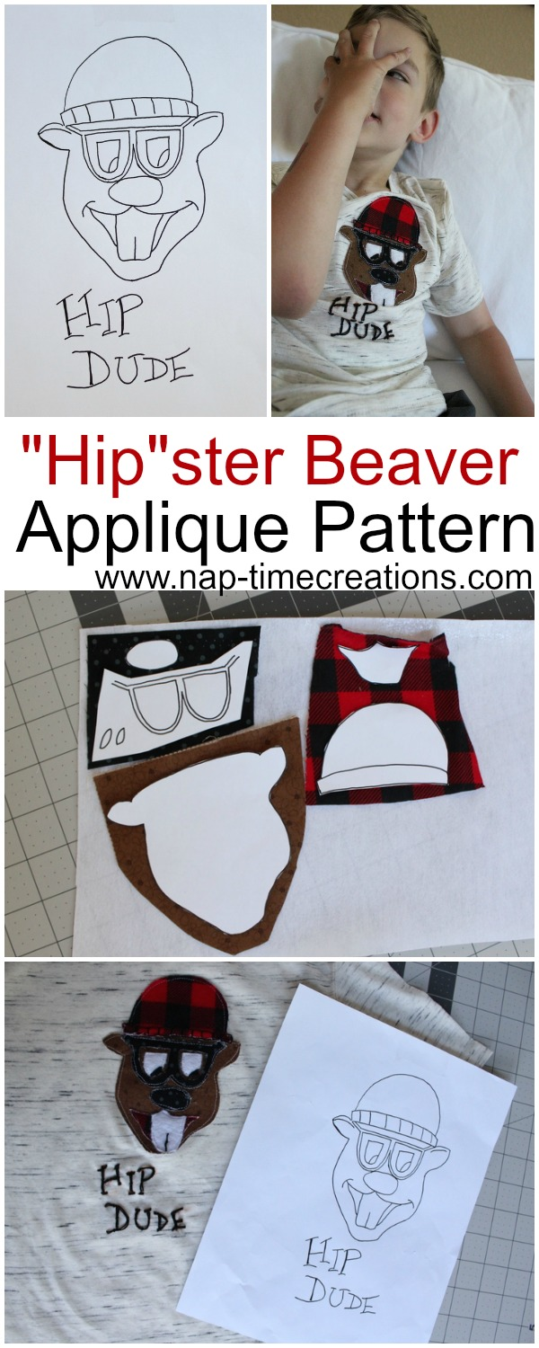 Hipster Beaver Applique Pattern by Sew What Alicia | www.nap-timecreations.com